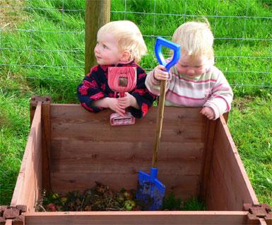 Children's Single Wooden Compost Bin