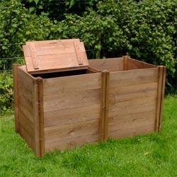 Superior Compact Slim Double Twin Wooden Extendable Slot Down Compost Bin 75 x 137 x 72cm