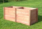 Superior Long Double Twin Wooden Slot Down Compost Bin 75 x 235 x 90cm