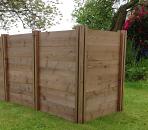 Professional Double Twin Compact Slim Wooden Extendable Slot Down Compost Bin 90 x 137 x 72cm