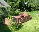 Professional Quad Big Square Wooden Slot Down Compost Bin